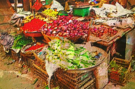 cairo: original oil painting of outdoor vegetable markets ancient  Islamic cairo  egypt Stock Photo