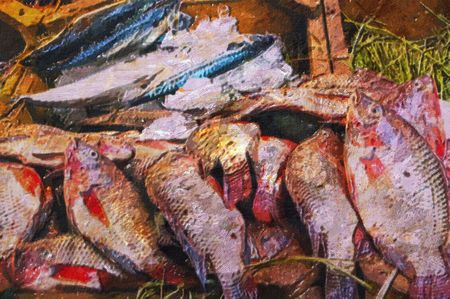 fish store: original oil painting of outdoor fish markets ancient  Islamic cairo  egypt