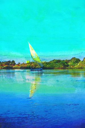 nile river: original oil painting of A Feluccas on the nile