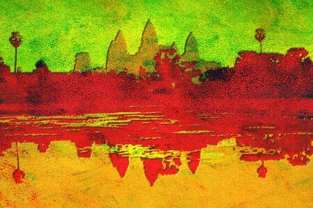 original oil painting of angkor wat at sunset