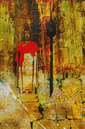 wat: original oil painting of buddhist shrine angkor wat