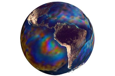 planisphere: Polluted oil spill Planet earth globe illustration 3d render isolated