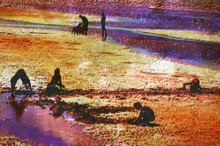 depiction: original oil painting of children playing on beach