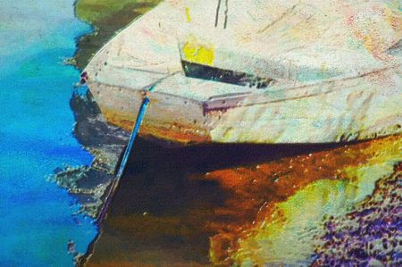 original oil painting of old boat moored at moreton bay brisbane photo