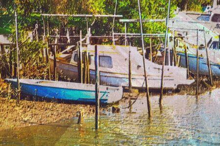 canvas print: original oil painting of old boat moored at moreton bay brisbane Stock Photo