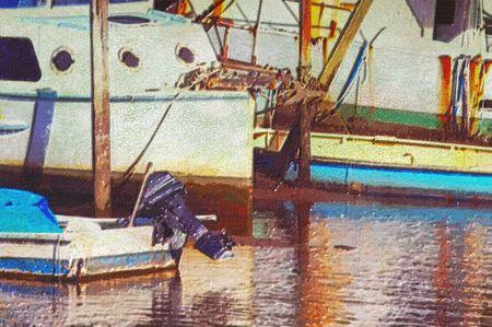 original oil painting of old boat moored at moreton bay brisbane photo