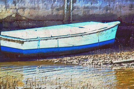 rowboat: original oil painting of old boat moored at moreton bay brisbane Stock Photo