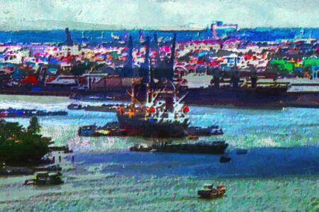 original oil painting of saigon harbor waterfront photo