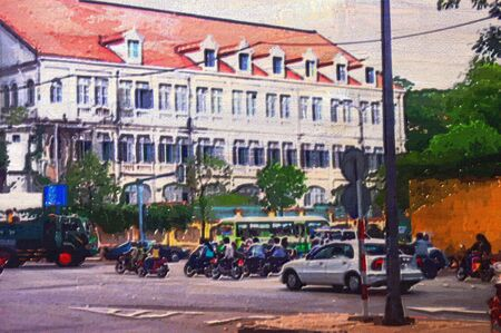 depiction: original oil painting of traffic in city of saigon veitnam Stock Photo