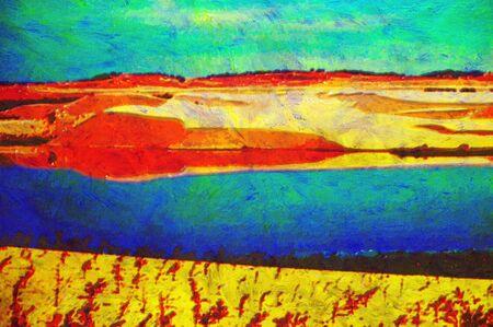 ne: original oil painting of colour sand dunes lake veitnam
