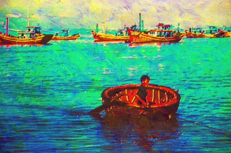 original oil painting of boats mui ne beach vietnam photo