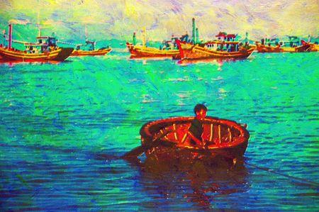 original oil painting of boats mui ne beach vietnam photo