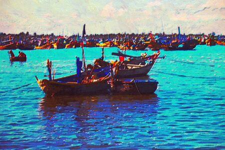 ne: original oil painting of boats mui ne beach vietnam Stock Photo
