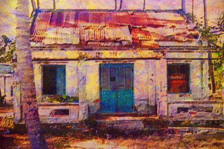 original oil painting of rural shack vietnam photo