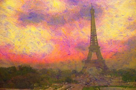 acrylic painting: original oil painting of effiel tower paris Stock Photo