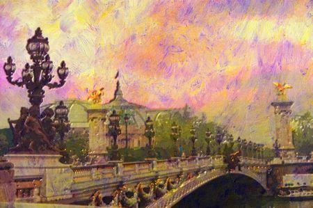 original oil painting of Pont Alexandre iii bridge photo