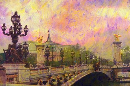 iii: original oil painting of Pont Alexandre iii bridge