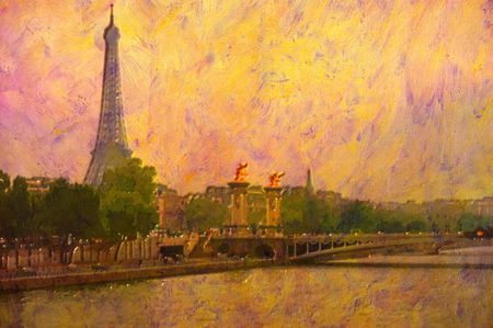 famous people: original oil painting of effiel tower paris Stock Photo