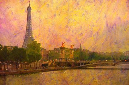 canvas print: original oil painting of effiel tower paris Stock Photo