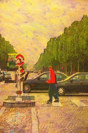 elysees: original oil painting of the champ elysees paris Stock Photo