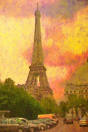 original oil painting of effiel tower paris photo
