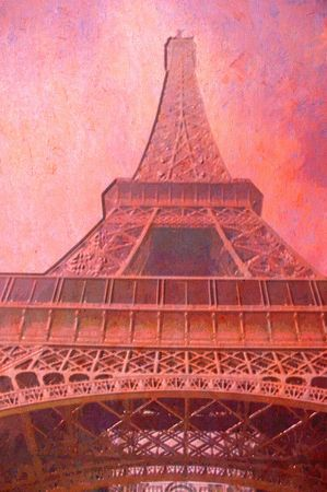 original oil painting of effiel tower paris photo