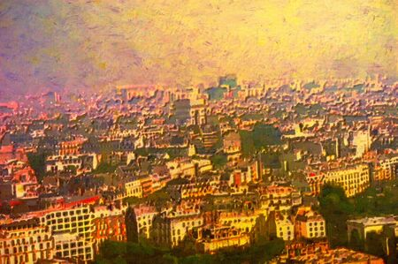 original oil painting of the city of paris from above photo