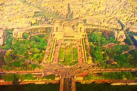 depiction: original oil painting of the city of paris from above Stock Photo