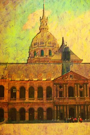 original oil painting of Hotel des invalides paris photo