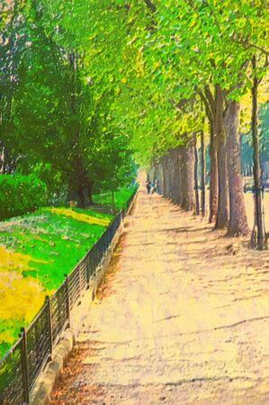 original oil painting of paris street walkway photo