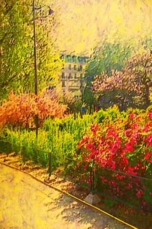 original oil painting of paris garden in flower photo
