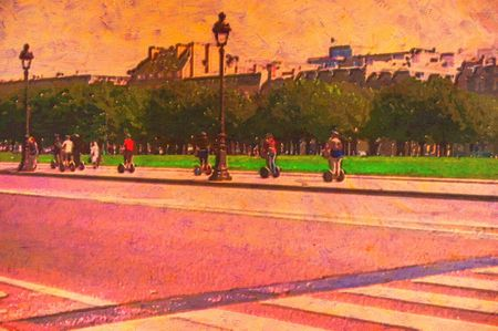 original oil painting of people on scooters photo