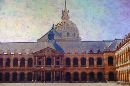 original oil painting of Hotel des invalides paris photo