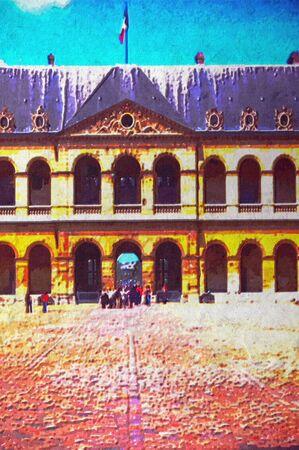depiction: original oil painting of Hotel des invalides paris