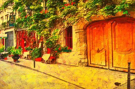 Pittura ad olio originale di un bistrot in paris  Archivio Fotografico