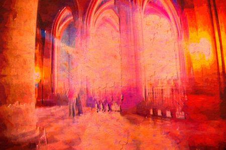 original oil painting of church of light paris