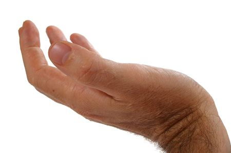 reaching out: Isolated over white human male  hand concept  Stock Photo