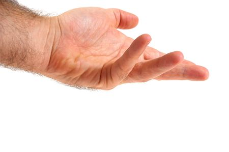 grabbing hand: Isolated over white human male  hand concept  Stock Photo