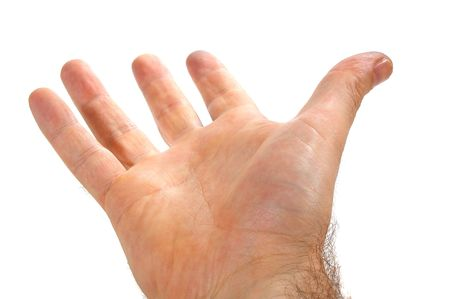 open hand: Isolated over white human male  hand concept  Stock Photo