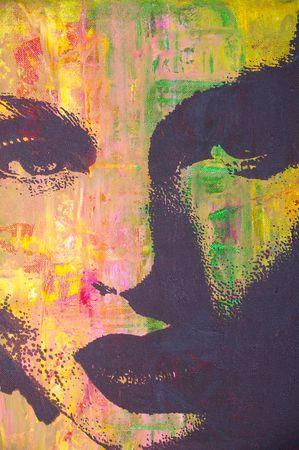 painting face: ilustraci�n original pintura al �leo sobre lienzo estirada