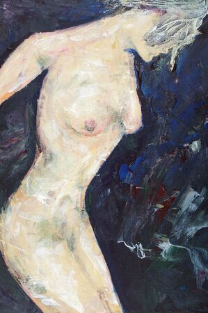 artistic nude: original artwork oil painting on stretched canvas Stock Photo