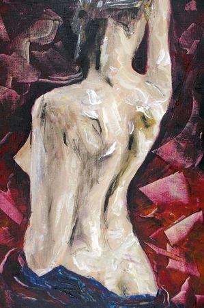 originale disegno pittura ad olio su tela allungato