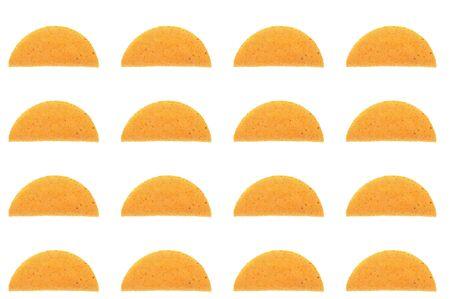 many taco shell patern array over white photo
