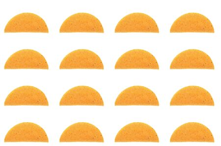 many taco shell patern array over white photo