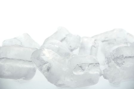 crushed ice: frozen real ice cube background isolated over white