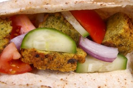 tortilla wrap: traditional falafel pocket bread sandwich with salad