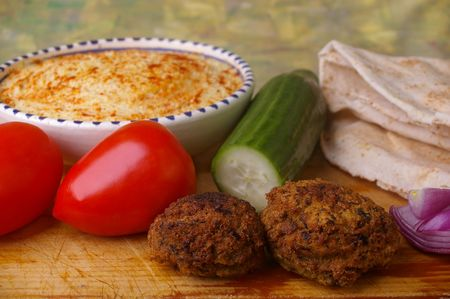 falafel: traditional egypt food the falafel and ingredients for pita bread sandwich