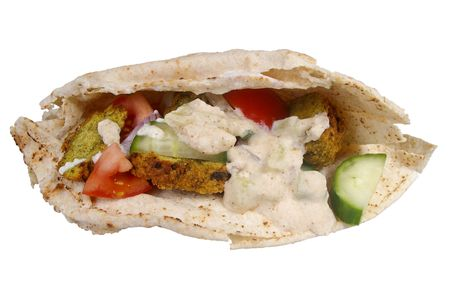 traditional falafel pocket bread sandwich with salad