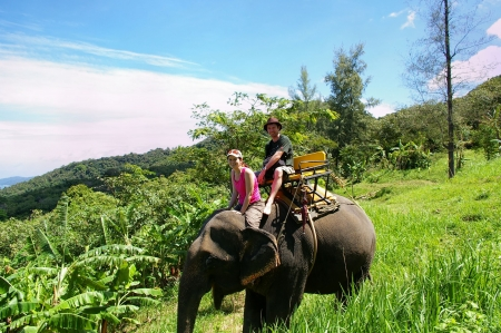 couple of tourists on elephant ride thailand