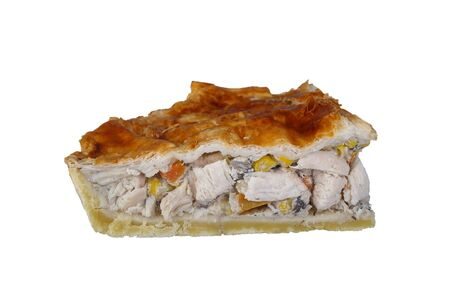 flaky: chicken meat pie or pot pie with short crust and flaky pastry